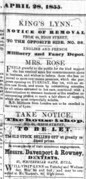 1855 April 28th Mrs Rose moves No 44 to No 86