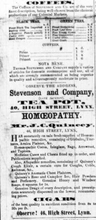1854 Nov 25th J C Quincey @ No 46