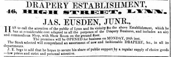 1856 May 24th Jas Eusden jnr @ No 46