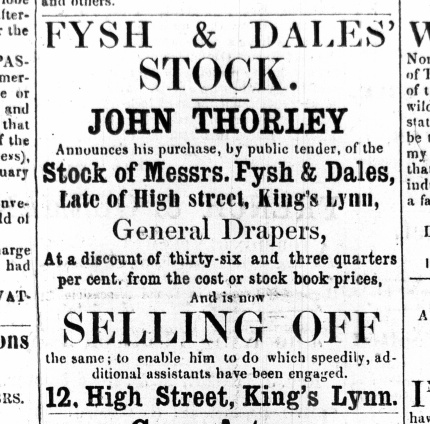 1861 April 27th John Thorley sells Fysh & Dales stock ex No 46
