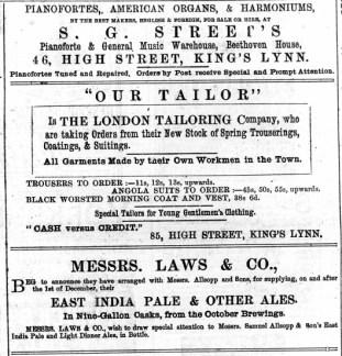 1883 7th April Street @ No 46 Our Tailor @ No 85 Laws & Co @ No 8
