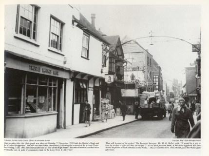 1959 November 23rd No 46 (Trustee Savings Bank) No 45 (Queens Head) Nos 43 & 44 (Boots) Demolition of No 42 (Hipps)