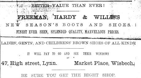 1892 May 28th Freeman Hardy & Willis