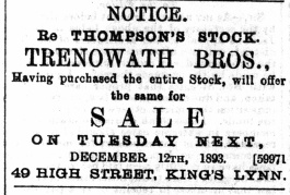 1893 December 9th Trenowaths sell Thompsons stock @ No 49