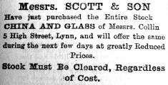 1907 July 5th Collins stock bought by Scott & Son