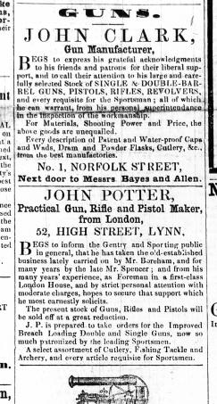 1857 Aug 22nd John Potter succeeds Mr Boreham @ No 52