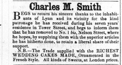 1857 Jan 3rd CM Smith moves to Tower St. (No 50)