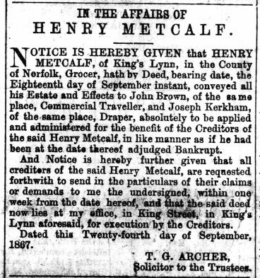 1867 Sept 28th Henry Metcalf@ No 50