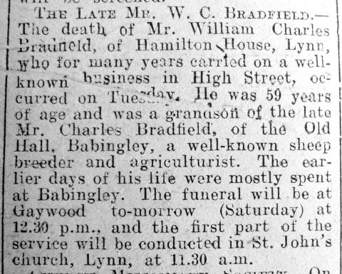 1919 Jan 21st Wm Charles Bradfield obit
