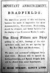 1920 Nov 5th Bradfields improvements