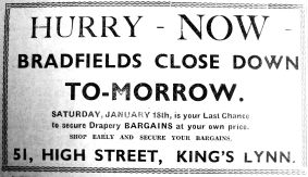1936 Jan 17th Bradfields close tomorrow