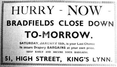 1936 Jan 17th Bradfields close tomorrow