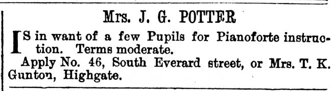 1878 Sept 28th Mrs J G Potter