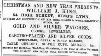 1896 Dec 18 W J King @ No 54