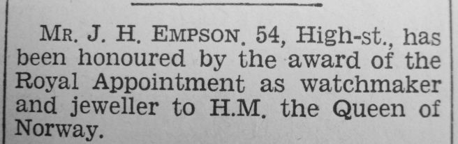 1934 May 11th JH Empson Q Maud Norway