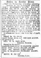1886 April 17th Allen & Neale @ 55 ex LN