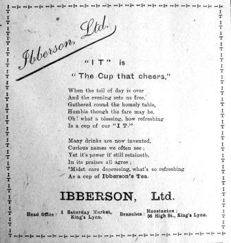 1917 Mar 16th Ibbersons Tea