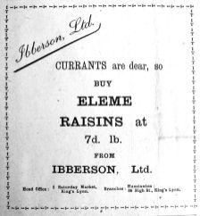 1917 Mar 9th Ibbersons Rasins