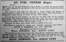 1901 Nov 1st Ibberson St Ivel Cheese
