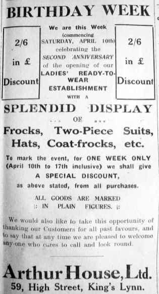 1926 Apr 9th Arthur House 2nd anniversary