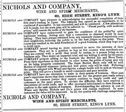 1874 October 3rd Nichols & Co @ No 60