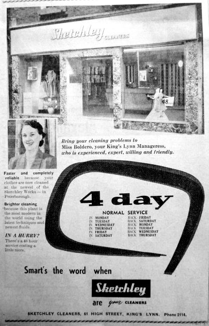 1958 Jan 7th Sketchleys Cleaners ad