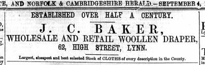 1869 Sept 4th J C Baker @ No 62