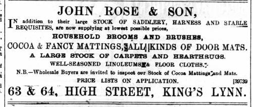 1890 May 3rd John Rose & Son @ 63 & 64