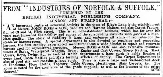1890 Sept 6th John Rose & Son in Industies of Nfk & Sfk @ 63 & 64