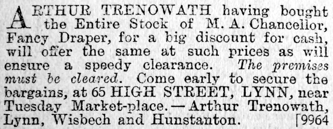 1903 M A Chancellors stock bought Arthur Trenowath contrast crop