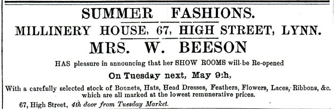 1882 6th May Mrs Beeson @ 67