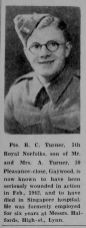 1945 Nov 9th obit Pte R C Turner former emp @ Halfords