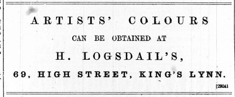 1888 July 21st H Logsdail artists colours @ No 69