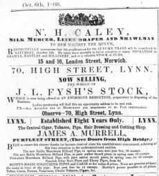 1860 Oct 6th JL Fysh selling up @ No 70