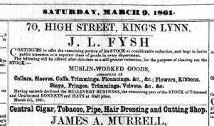 1861 March 9th J L Fysh @ No 70
