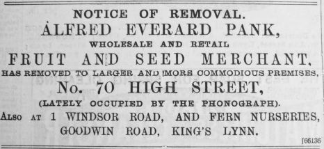 1895 Mar 23rd Alfred Everard Pank @ No 70