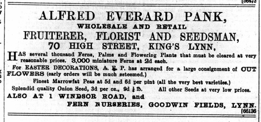 1895 March 30th Alfred Everad Pank @ No 70
