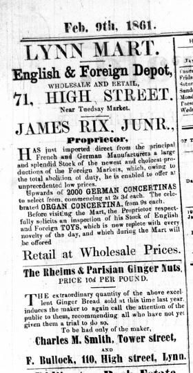 1861Feb 9th James Rix jnr @ No 71