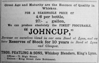 1914 May 8th Thos Peatling King John Whiskey