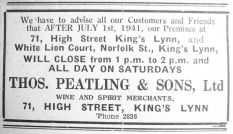 1941 July 25th Thos Peatling closing hours