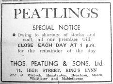 1942 Jan 2nd Thos Peatling & Sons early closing