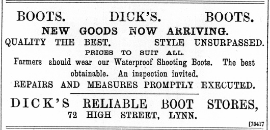 1897 Sept 10th Dicks @ No 72