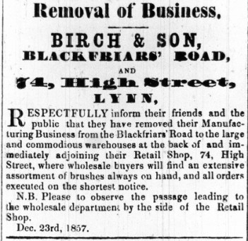 1858 Jan 2nd Birch & Son @ No 74