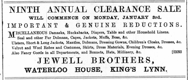 1887 January 1st Jewell Brothers @ Nos 76 & 77