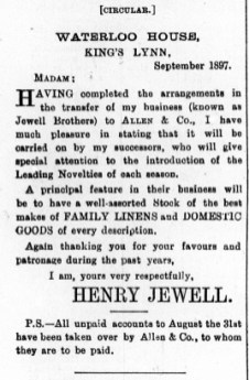 1897 Sept 3rd Henry Jewell @ Nos 76 & 77 01