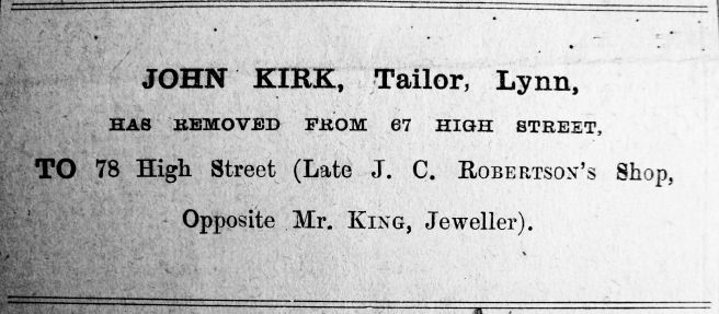 1914 Oct 23rd John Kirk moves in to No 78