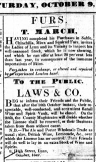 1847 Oct 9th George Laws @ No 8