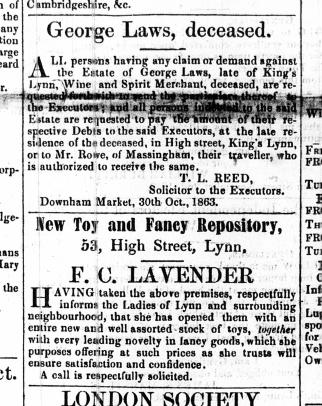 1863 Nov 7th George Laws deceased No 8