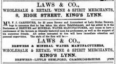 1889 Nov 16th F J Carpenter @ No 8