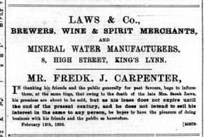 1892 Feb 13th Fredk J Carpenter @ No 8